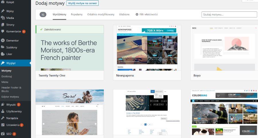darmowe motywy WordPress instalacja