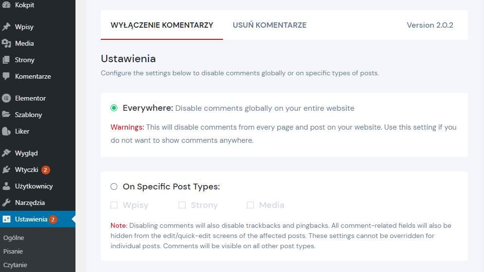 wordpress wyłączanie komentarzy dzięki wtyczce disable comments