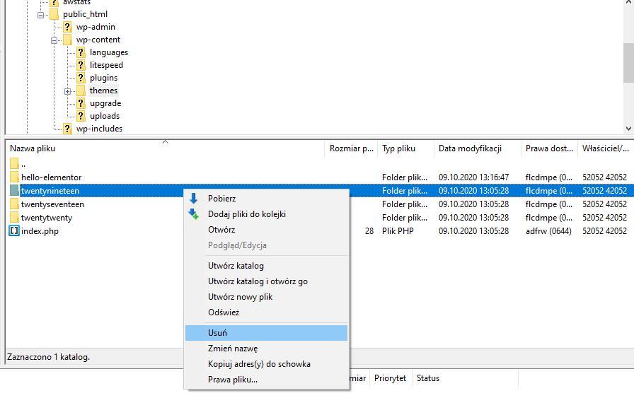 zdjęcie pokazujące jak usunąć motyw WordPress poprzez serwer FTP