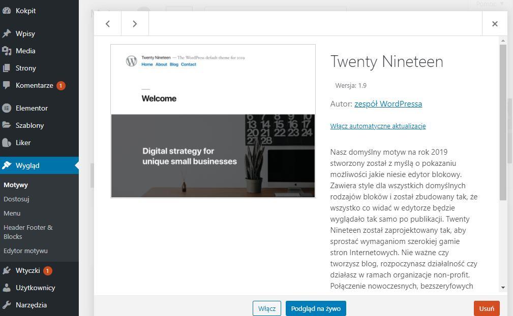 zdjęcie pokazuje jak usunąć motyw z WordPress