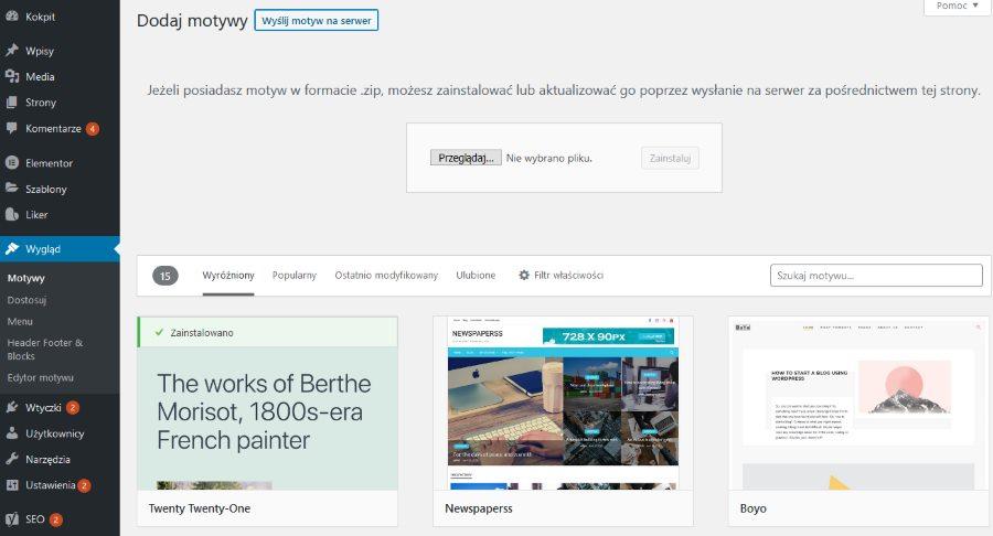 wgrywanie szablonu do WordPressa