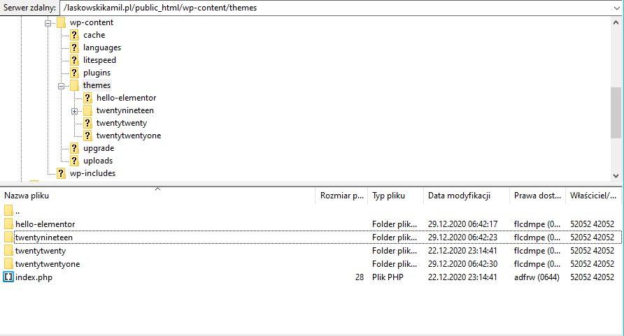 wgrywanie szablonu wordpress przez serwer FTP