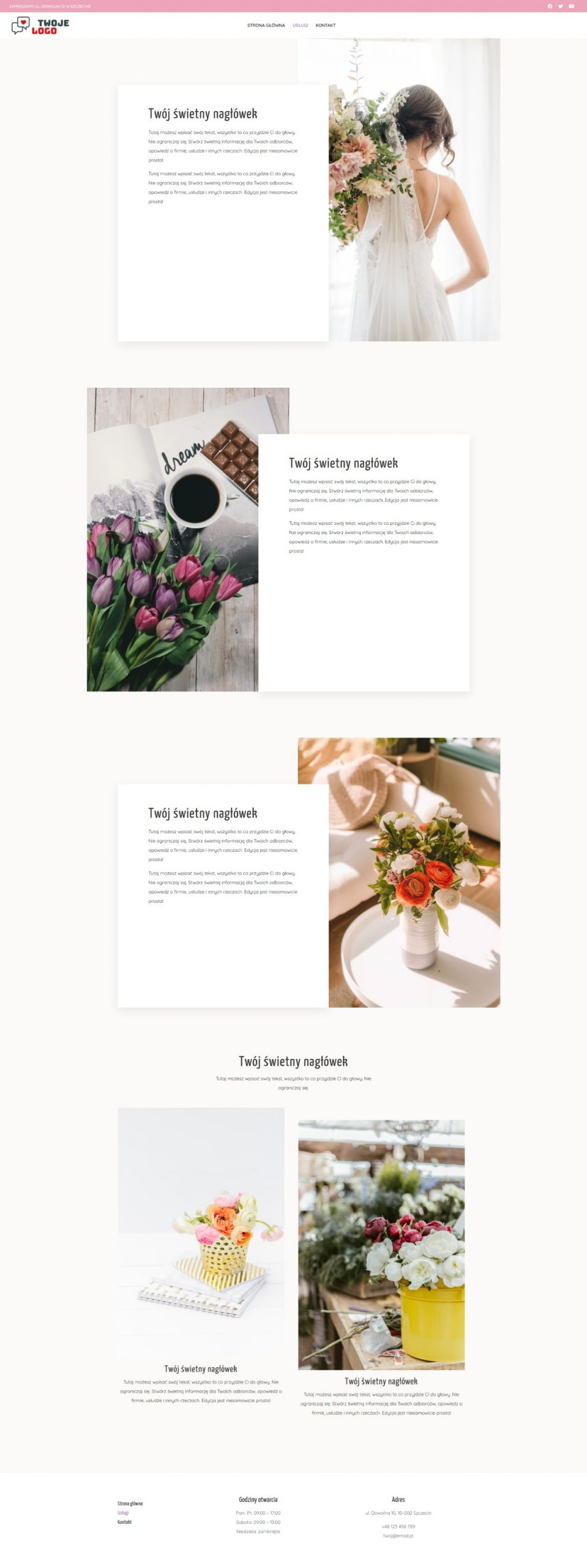 Gotowa strona internetowa dla kwiaciarni i florystki
