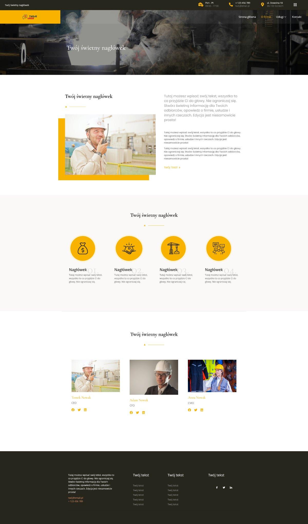 Gotowa strona internetowa dla firmy przemysłowej, energetycznej i nie tylko