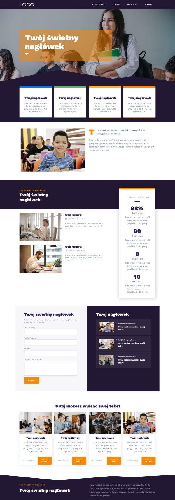 gotowa strona internetowa dla firmy edukacyjnej