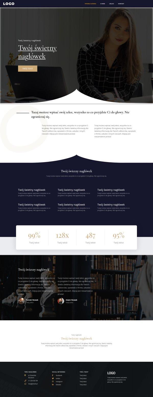 strona internetowa dla notariusza - wygląd strony głównej
