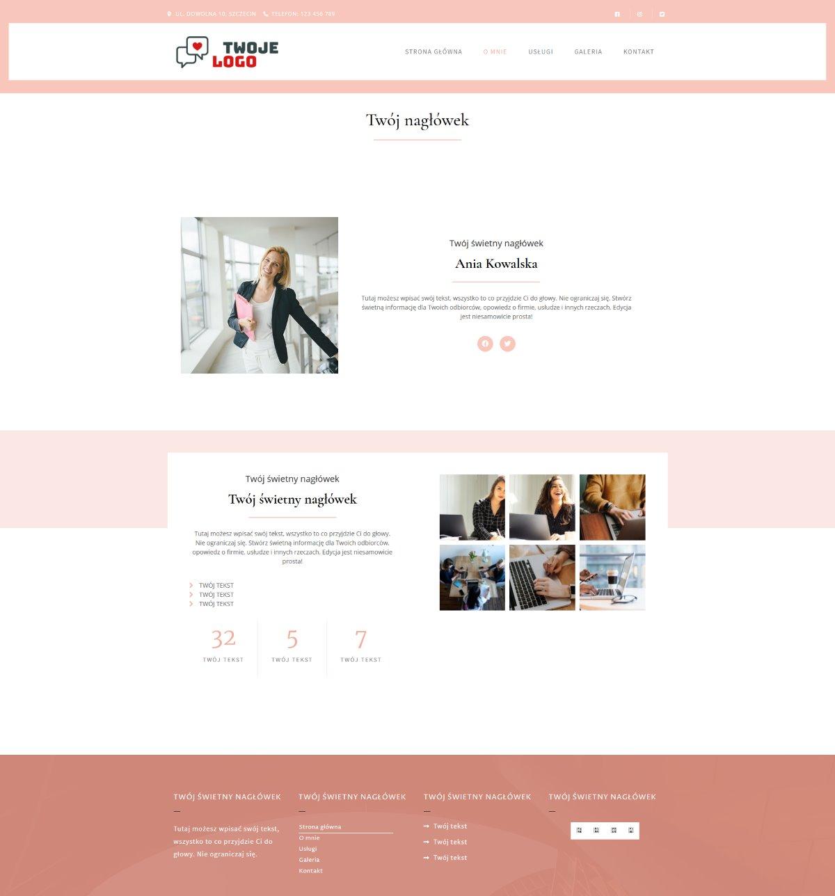 Gotowa strona internetowa dla kobiet prowadzących firmę.