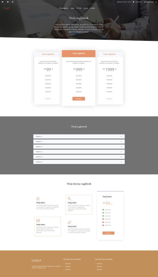 wygląd strony cennik - gotowa strona www na WordPresss