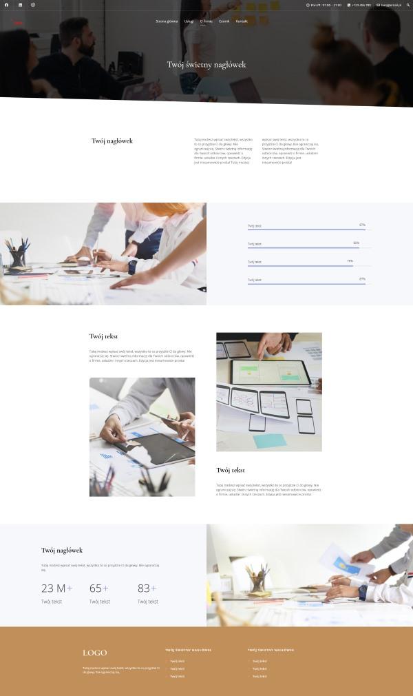 wygląd strony o firmie- gotowa strona www na WordPresss