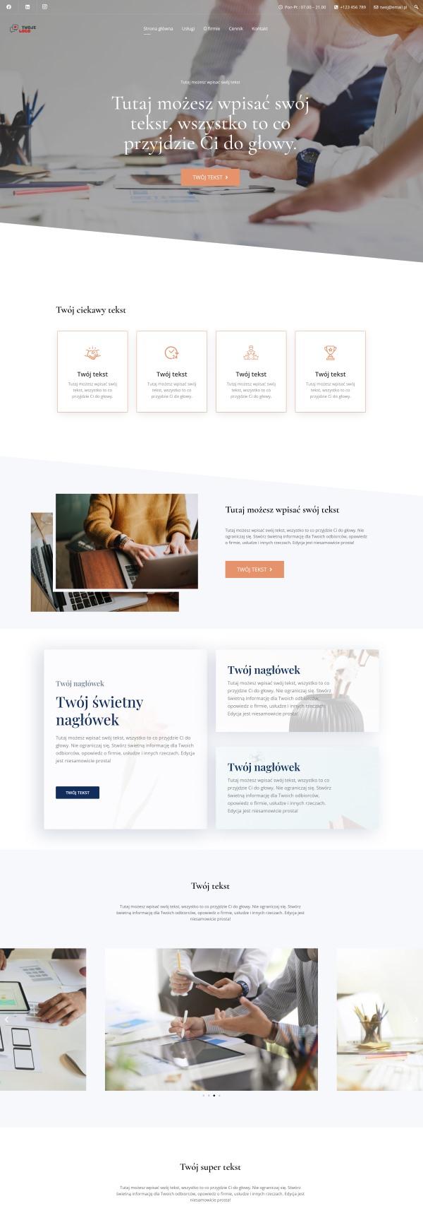 wygląd strony głównej - gotowa strona www na WordPresss