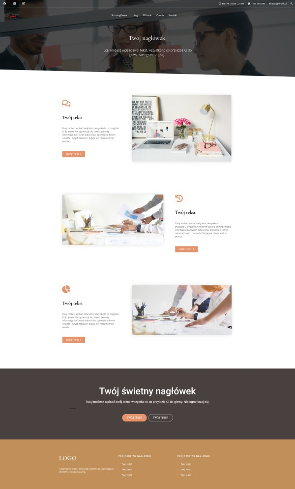 wygląd strony usługi - gotowa strona www na WordPresss