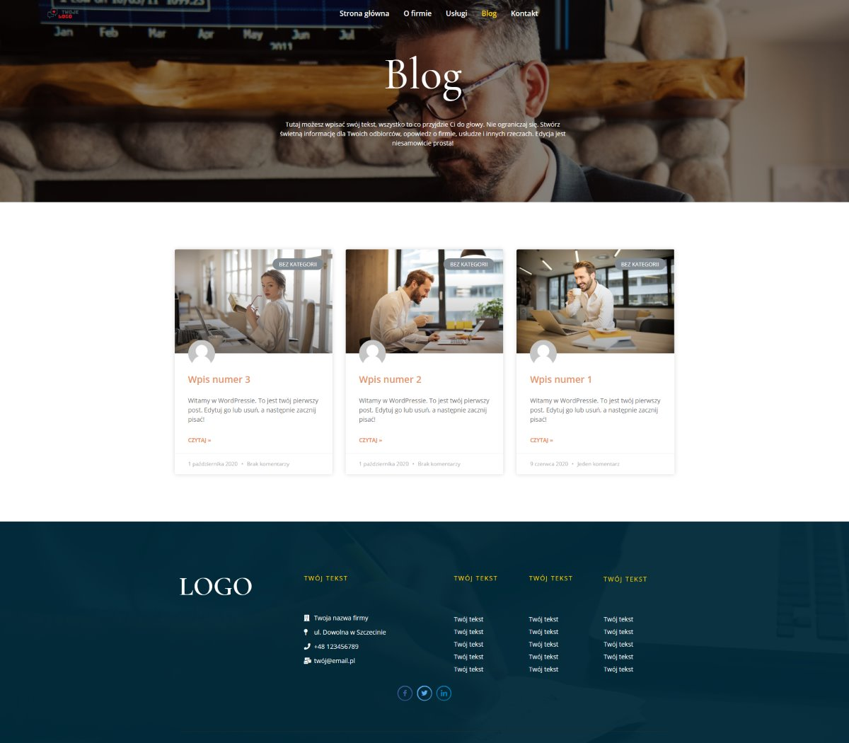 wygląd gotowej strony internetowej dla firmy