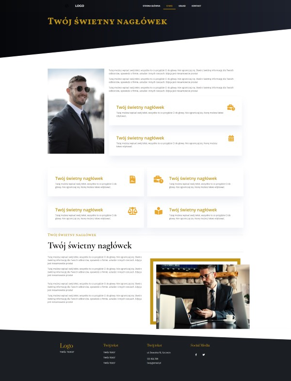 strona internetowa dla kancelarii adwokackiej wygląd strony o nas